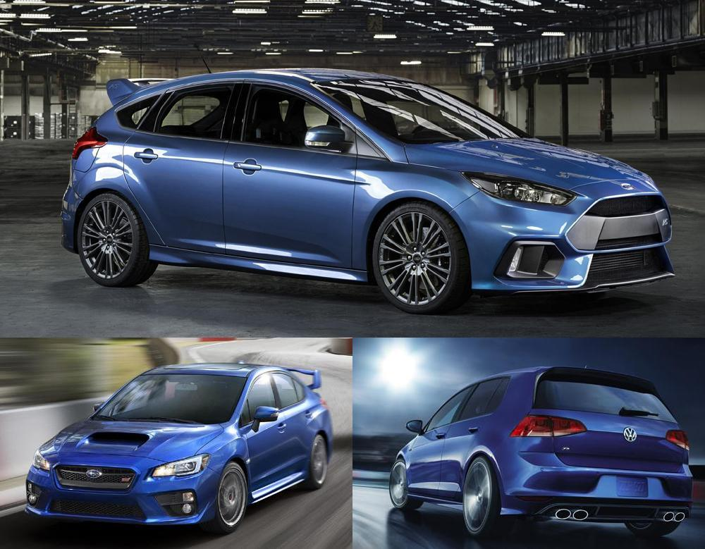 the hot hatch war begins 2016 focus rs wrx sti golf r. Black Bedroom Furniture Sets. Home Design Ideas